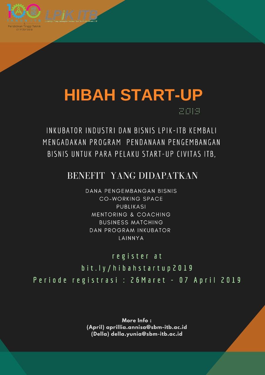 Hibah Start-Up 2019 (Deadline 7 April 2019)