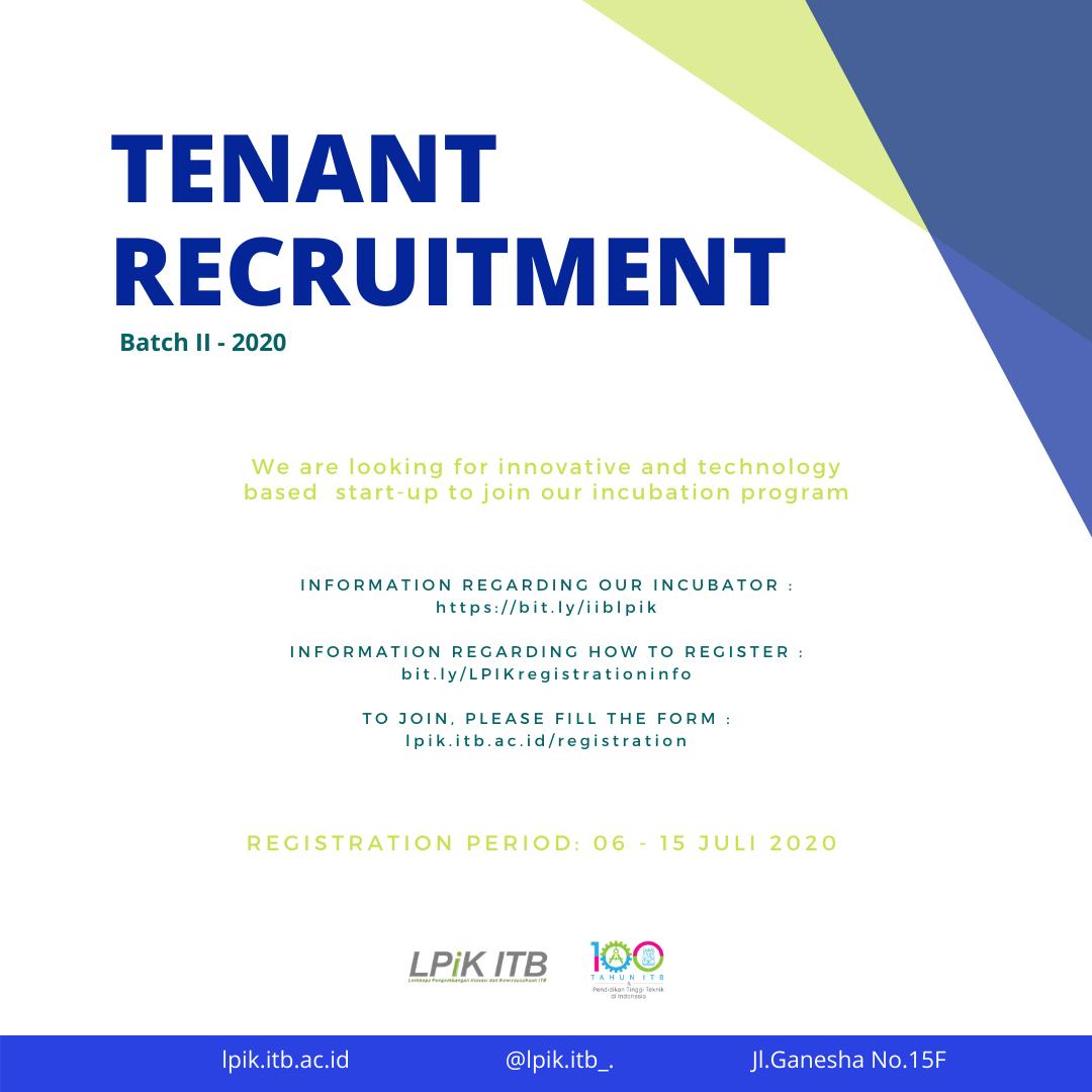 Tenant Recruitment Batch II - 2020