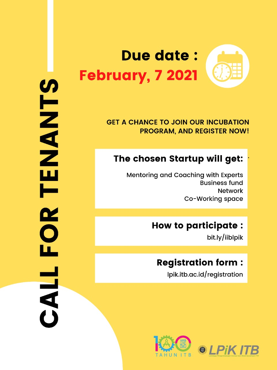 Call for Tenant Batch I - 2021